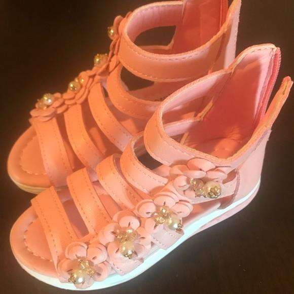 b7eebff83c1 Toddler girls pink gladiator sandals size 12